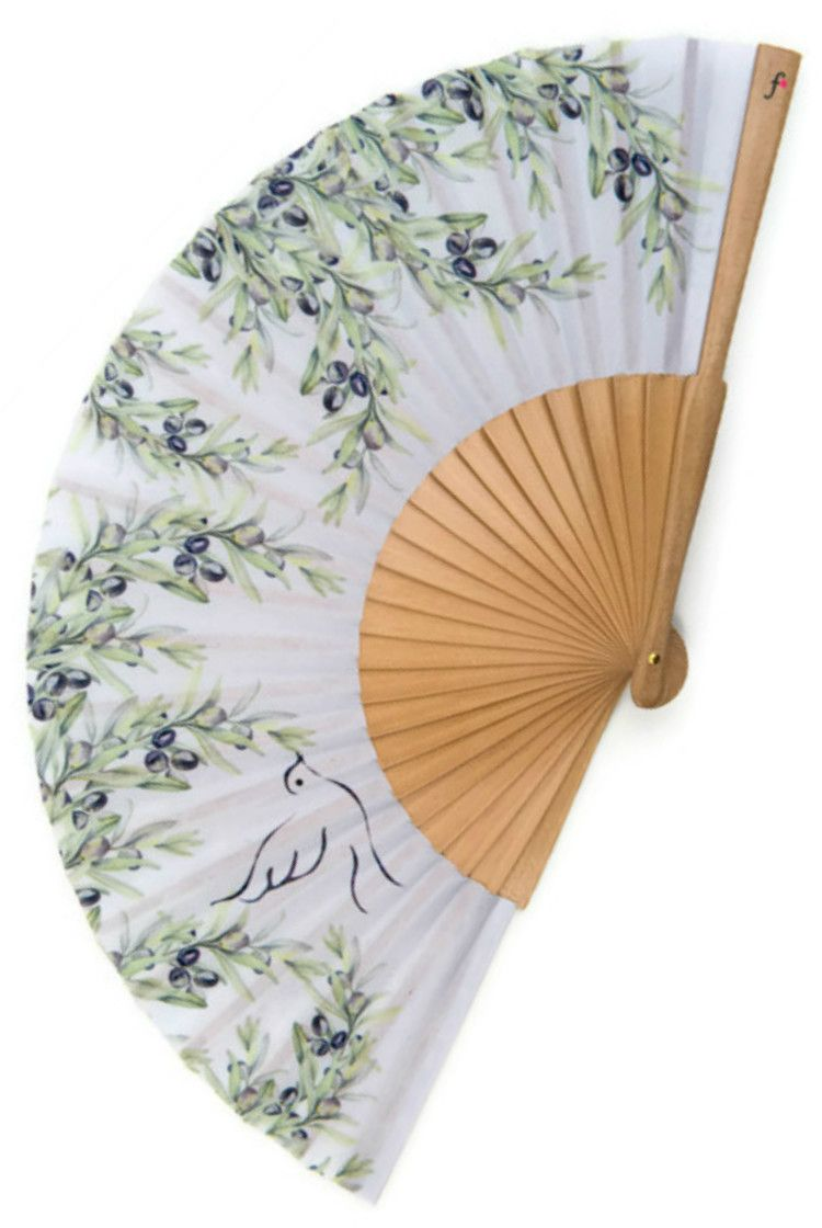 Wedding favour, FOLDING HAND FAN, Provence style print with olive ...