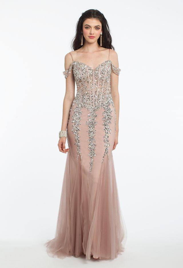 bbd45953e14 Illusion Corset Off Shoulder Godet Dress from Camille La Vie