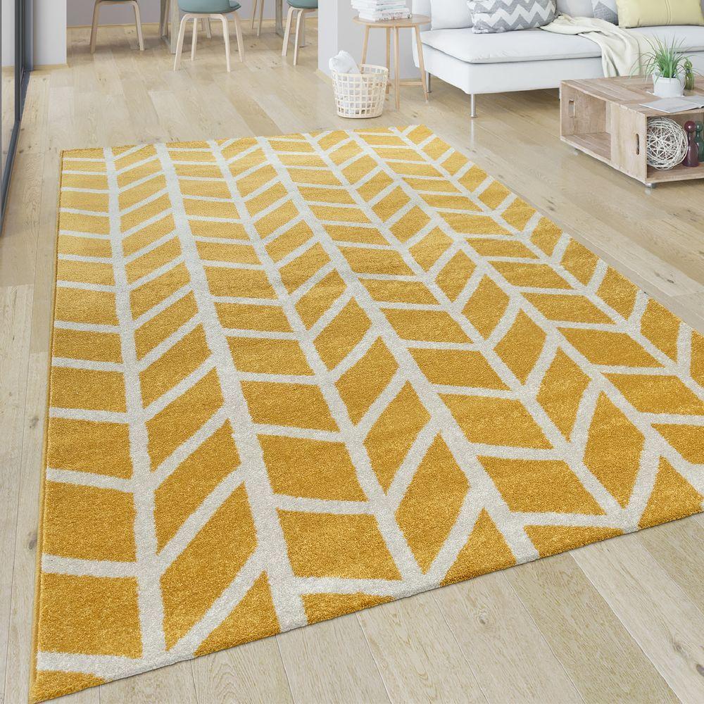 Kurzflor Teppich Streifen Muster Teppich Gelb Teppich Wohnzimmer Weisser Teppich
