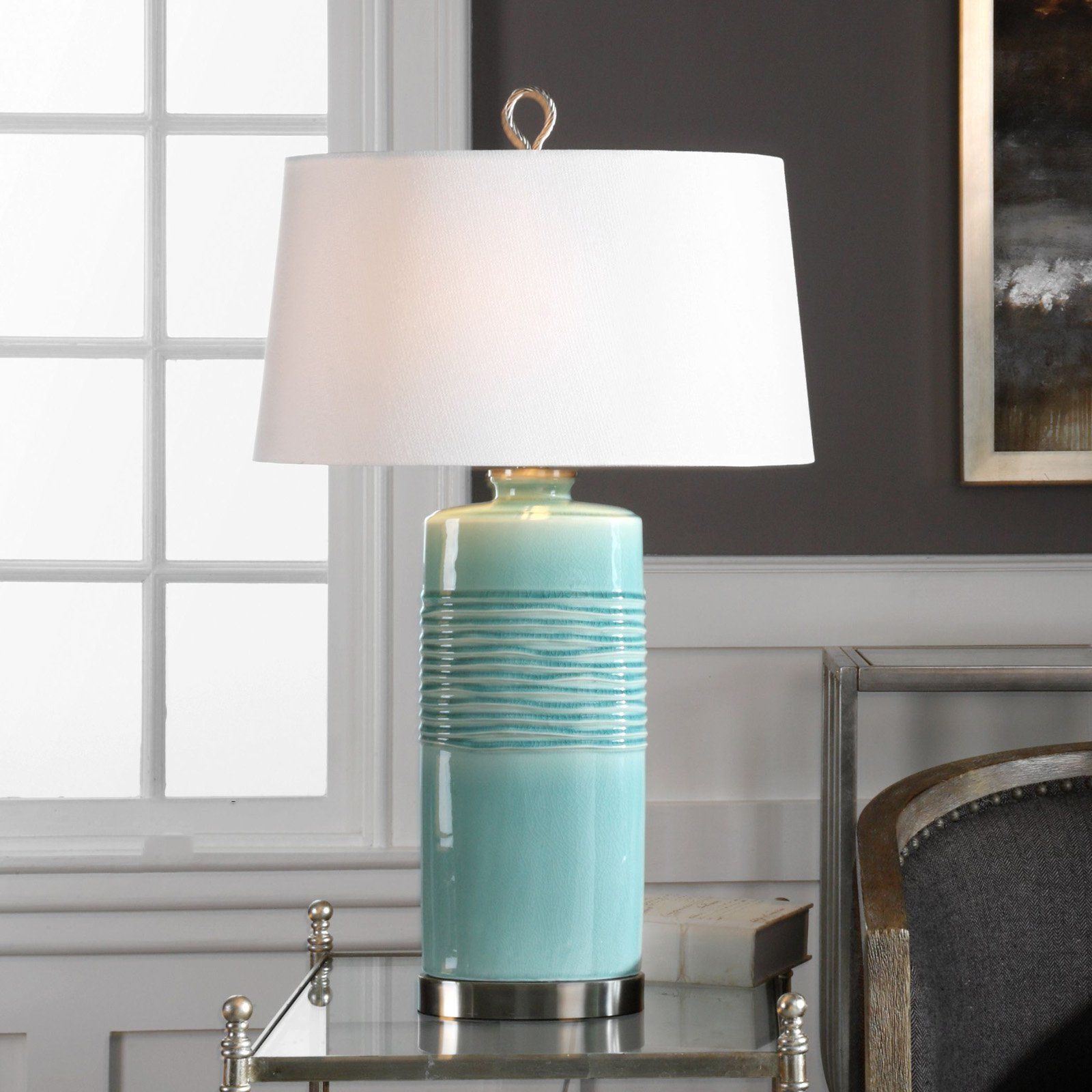 Uttermost Rila Distressed Teal Table Lamp Teal table
