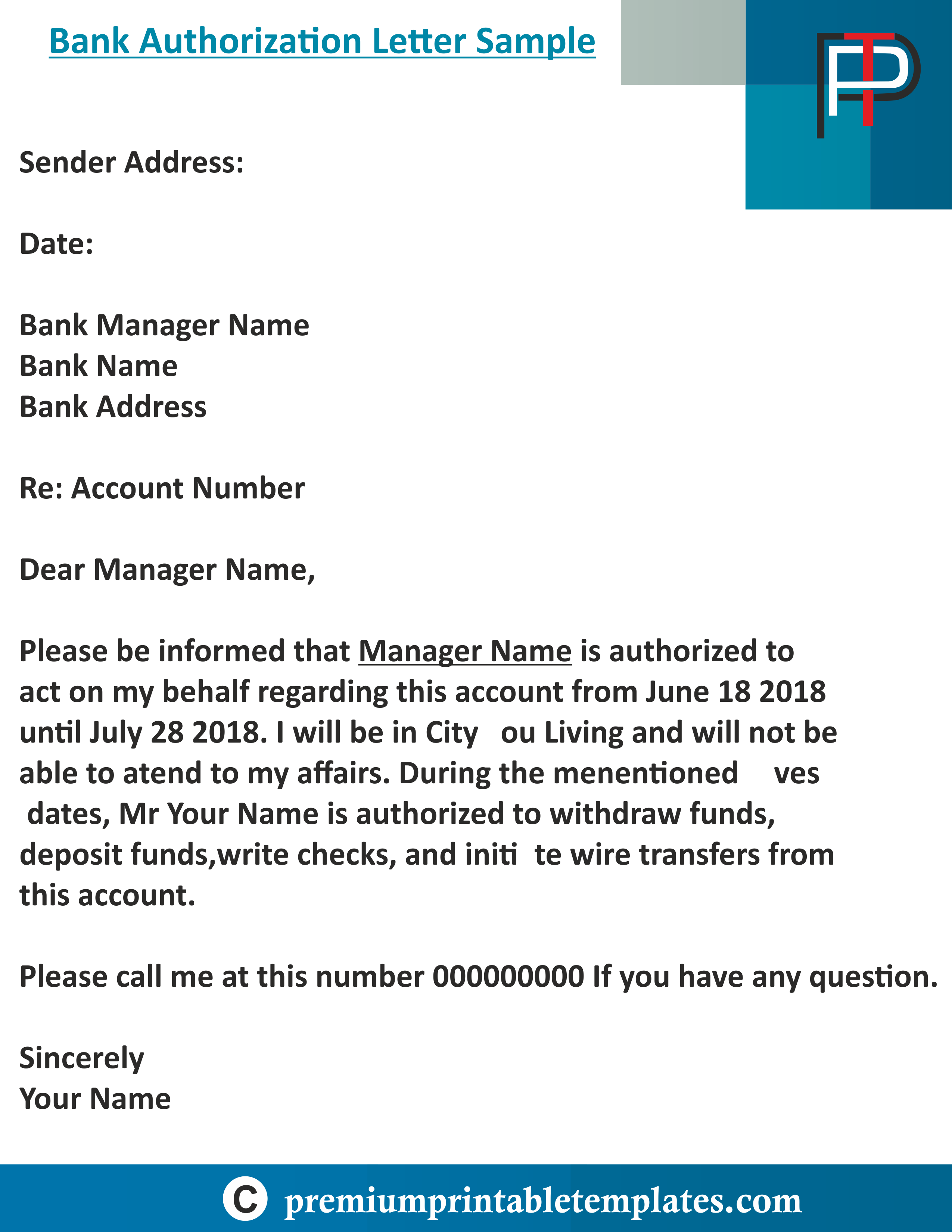 Bank Authorization Letter Template Premium Printable