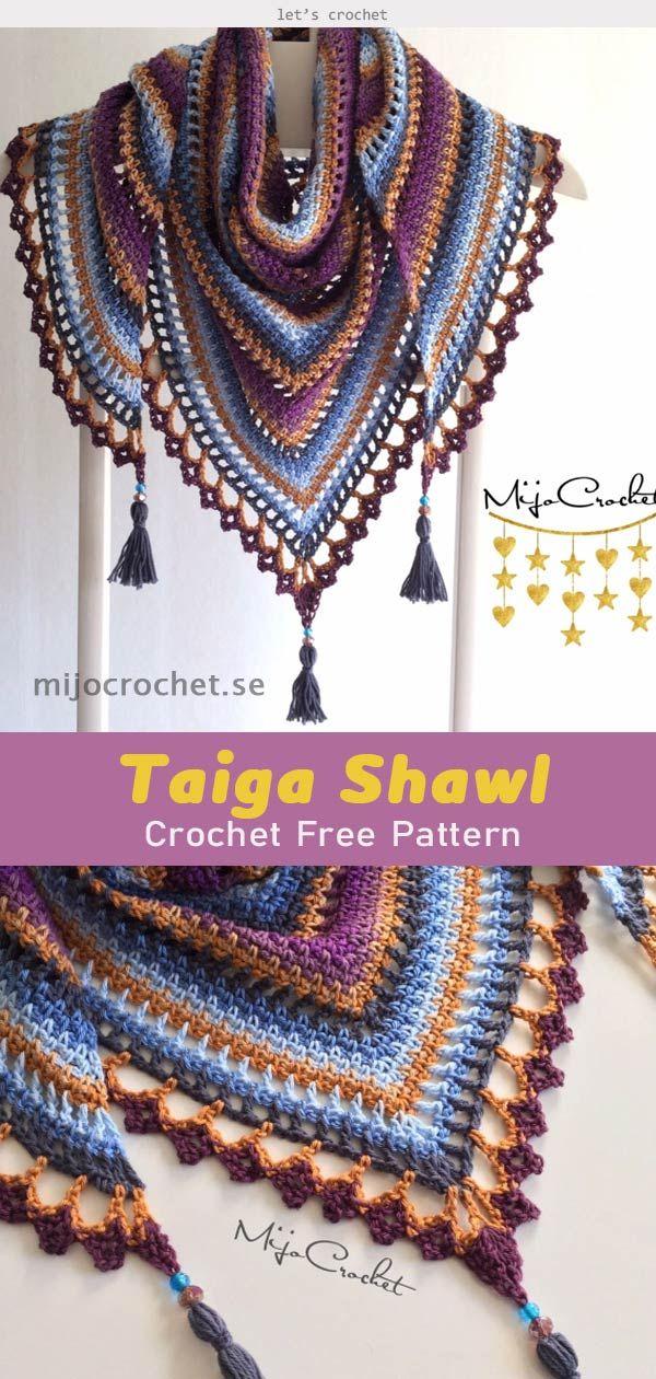 Taiga Shawl Crochet Free Pattern #shawlcrochetpattern
