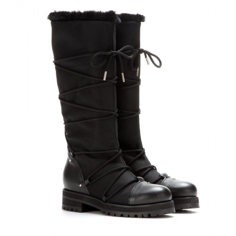 jimmy choo drexel leather and canvas fur lined boots mytheresa rh pinterest com
