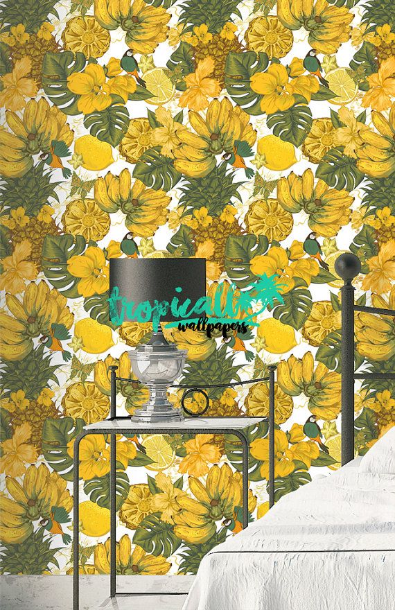 Yellow Fruit Wallpaper - Removable Wallpapers - Floral Bird Print ...