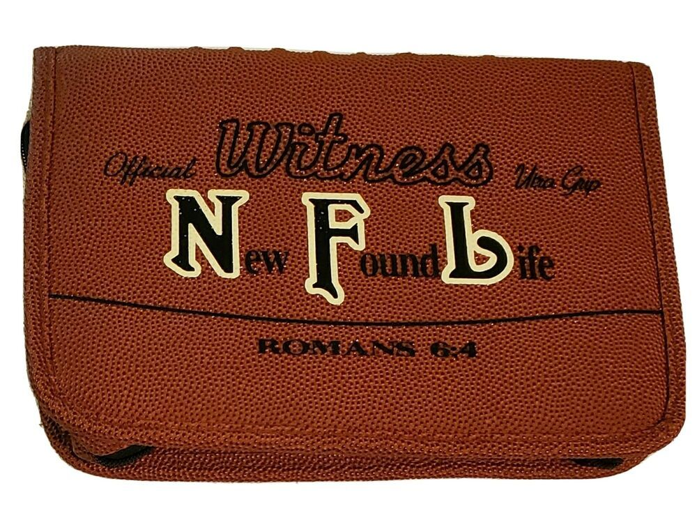 Bible Cover Nfl New Found Life Football Theme Standard Size Leather Romans 6 4 Ebay In 2020 Bible Covers Football Themes Romans 6 4