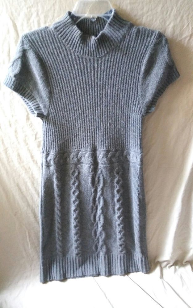 Women's Tommy Hilfiger Size Large Cable Knit Sweater Dress Gray Grey #TommyHilfiger #TommyHilfigerSweaterDressSizeLarge #SweaterDressSizeLarge