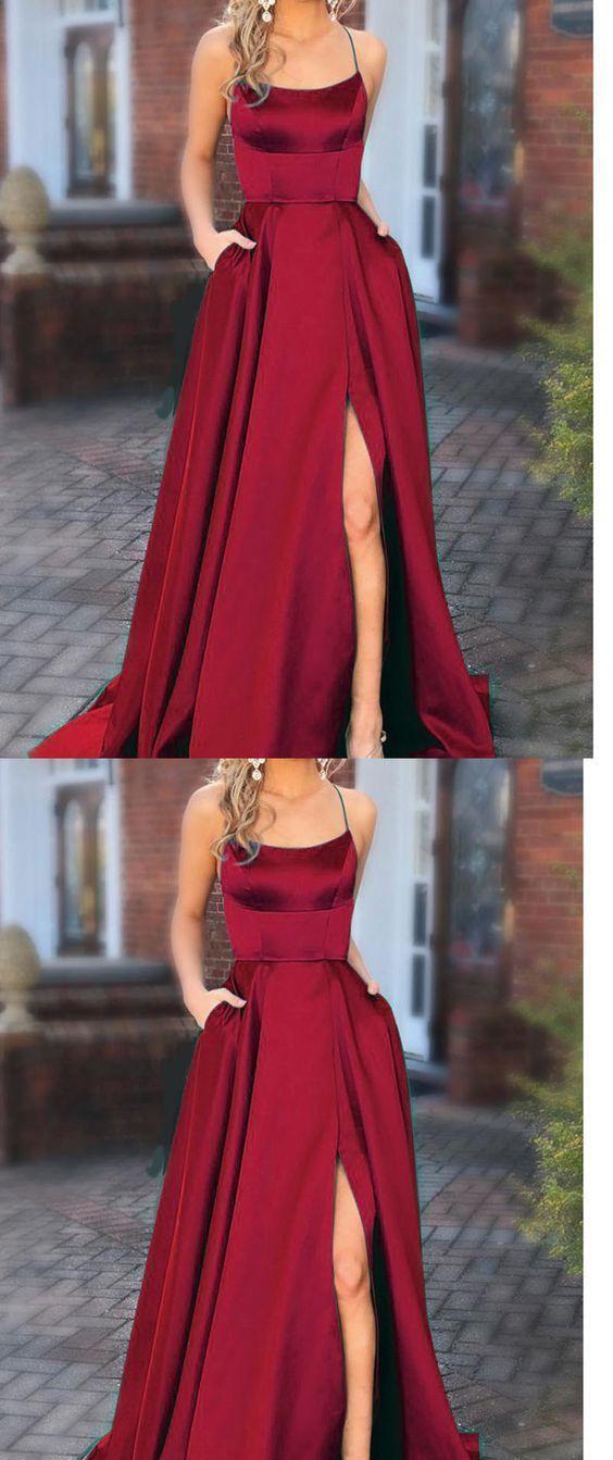 Halter Wine Red Prom Dresses Long with Pocket long Vestido De Festido Longo 2019