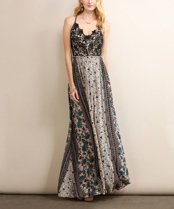 Look at this Soiéblu Teal & Taupe Floral Maxi Dress on #zulily today!