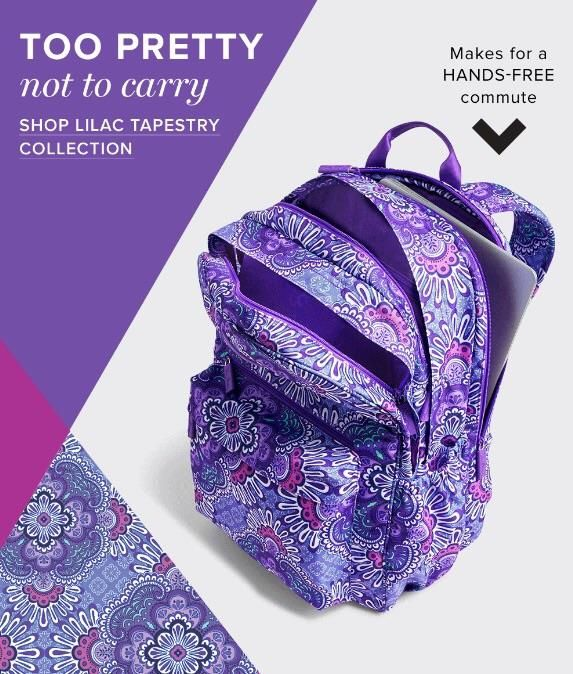 e2849bbeab0 Vera Bradley Backpack in Lilac Tapestry. Available now for Fall 2016 at  Rogers Jewelers, Downtown Big Rapids!