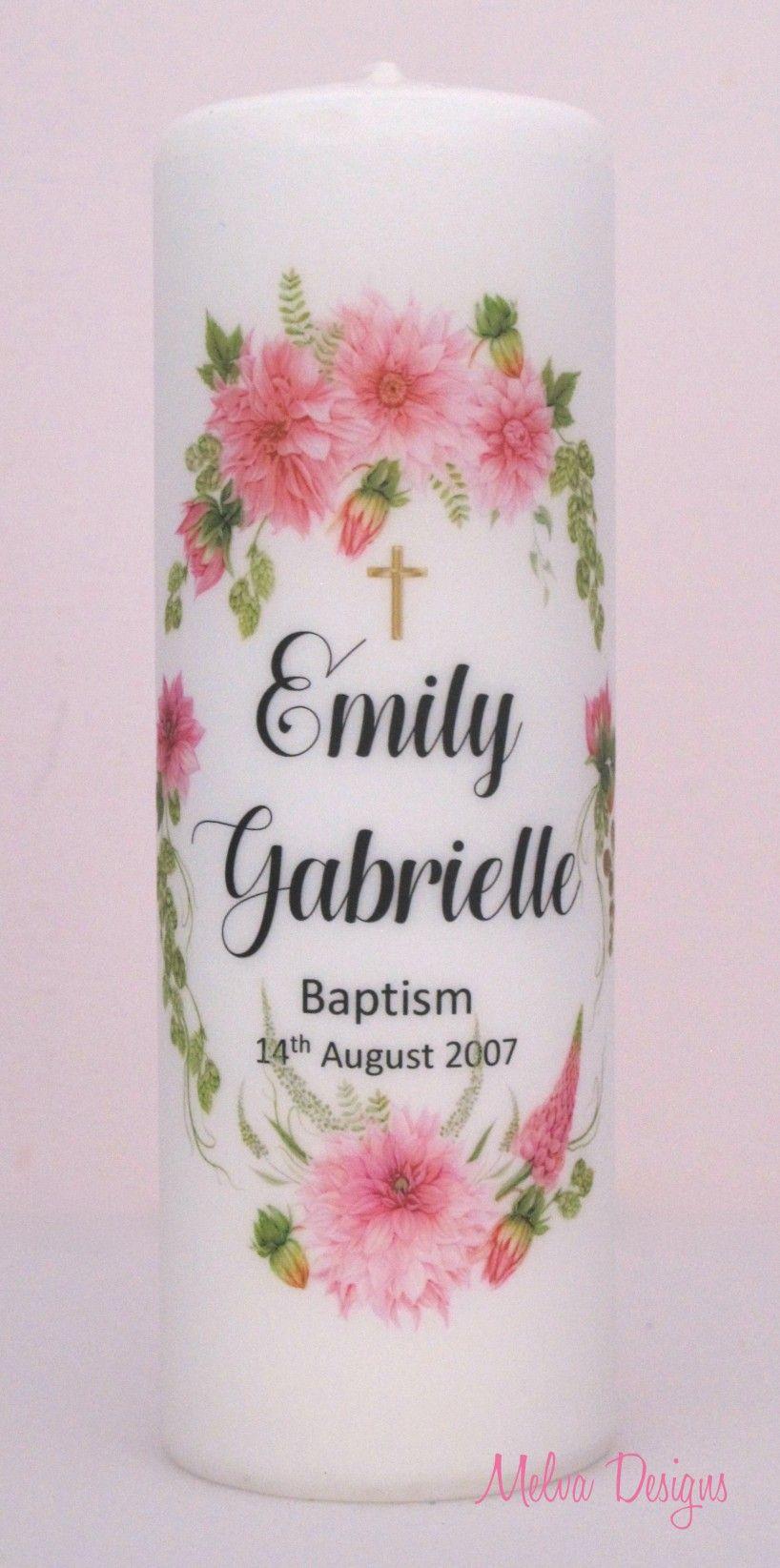 Dahlias for emily personalised girls baptism candle