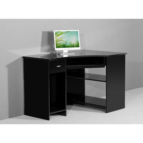 Venus Black High Gloss Corner Computer Desk Computer