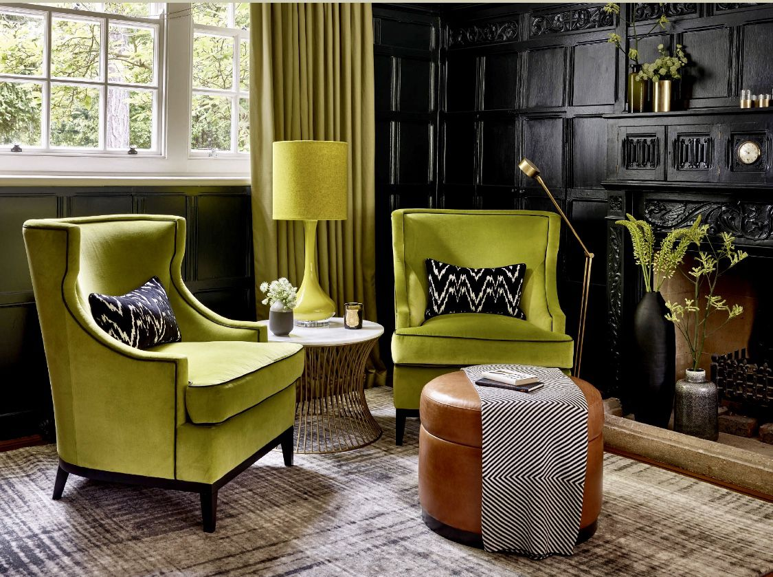 Black Living Room With Green Wingback Chairs Green Velvet Chairs