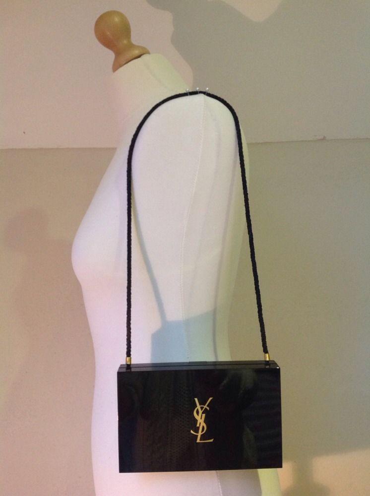 Vintage Ysl Minaudiere Yves Saint Laurent Makeup Holder Clutch Bag Black Perspex Vintage Ysl Yves Saint Laurent Makeup Purses And Bags