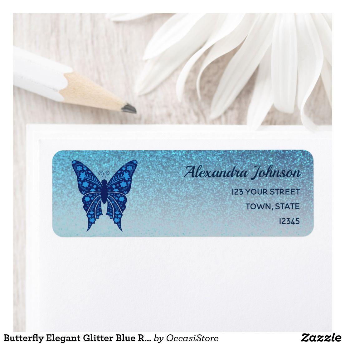 Butterfly elegant glitter blue return address label