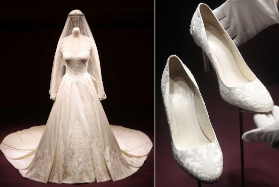 Another Look At Kates Wedding Shoes While On Display Buckingham Palace Along With Her Other Attire Gown And Veil Included