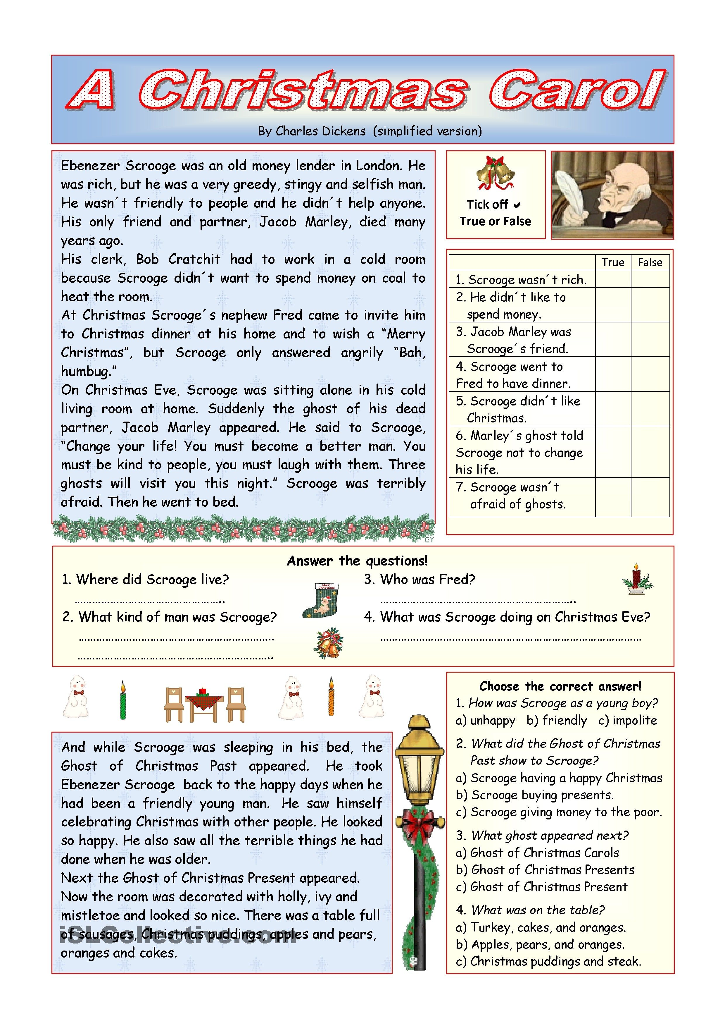 worksheet Christmas Comprehension Worksheets a christmas carol simplified version key included worksheet free esl printable worksheets made by teachers