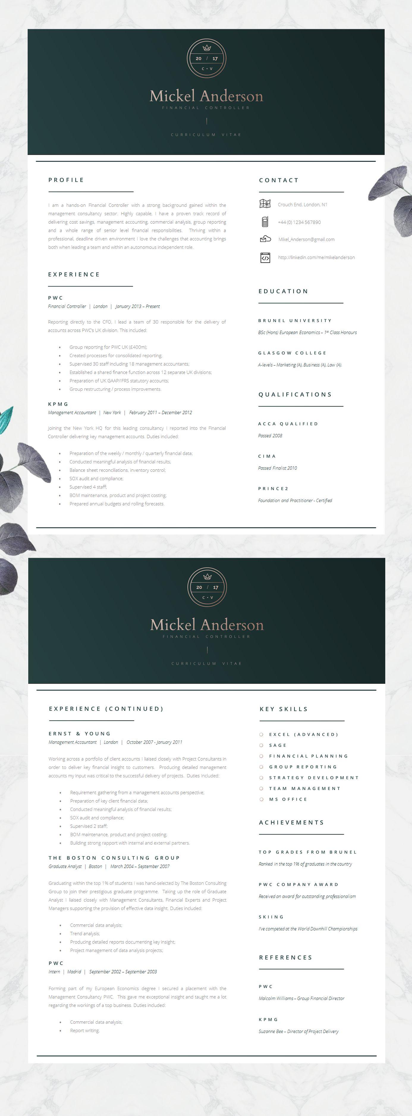 Professional Cv Template In Dark Green Stylish Resume For Etsy Resume Design Template Cv Template Modern Resume Template