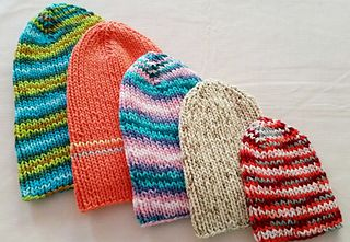 Free knitting pattern  Simple Knit Hats for the Family in 5 sizes from  newborn through a1c66c9bf75