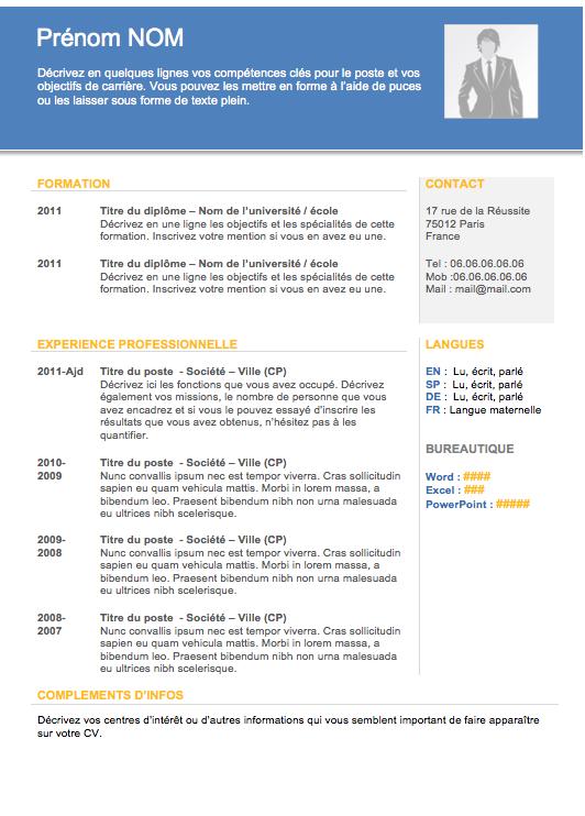 Modèle de cv gratuit CV Moderne 001 Créer un CV