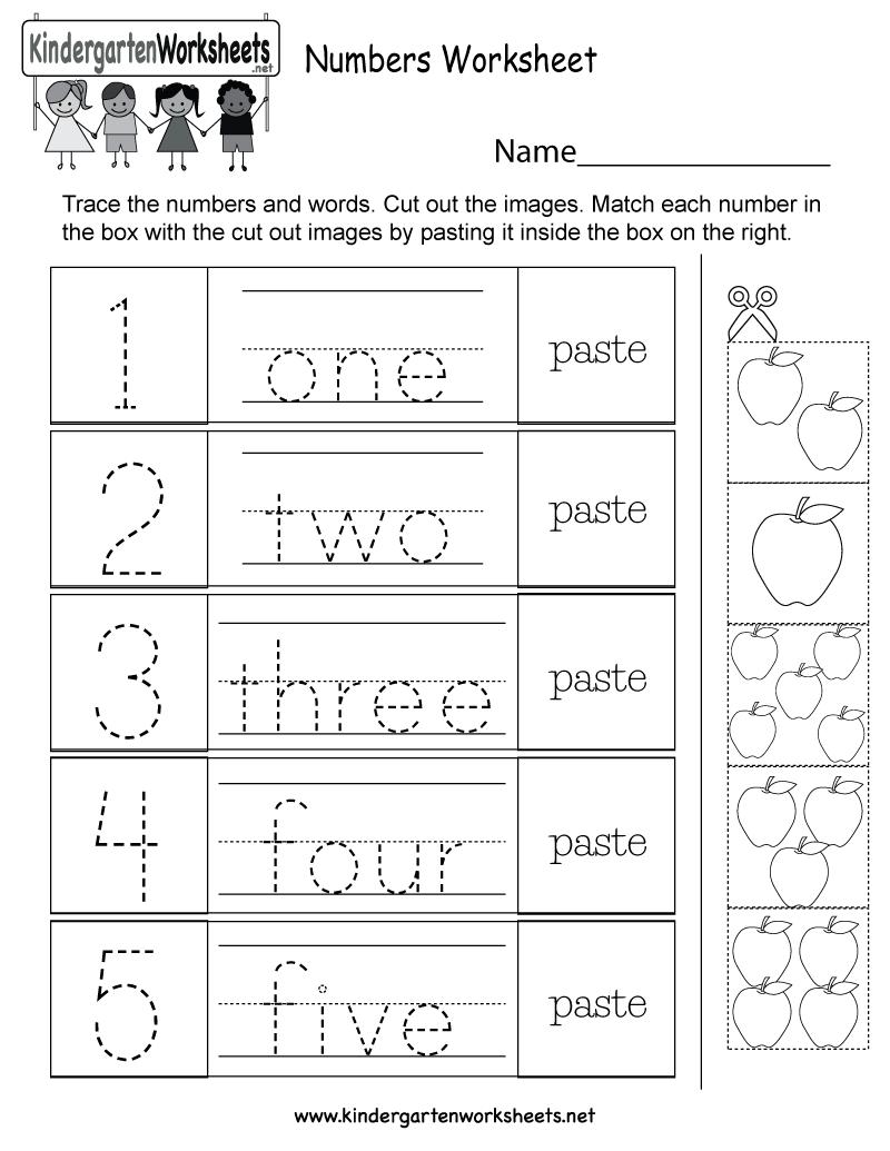 Free Printable Numbers Worksheet for Kindergarten