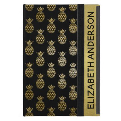 Gold and Black Tropical Pineapple Personalized Case For iPad Mini | Zazzle.com
