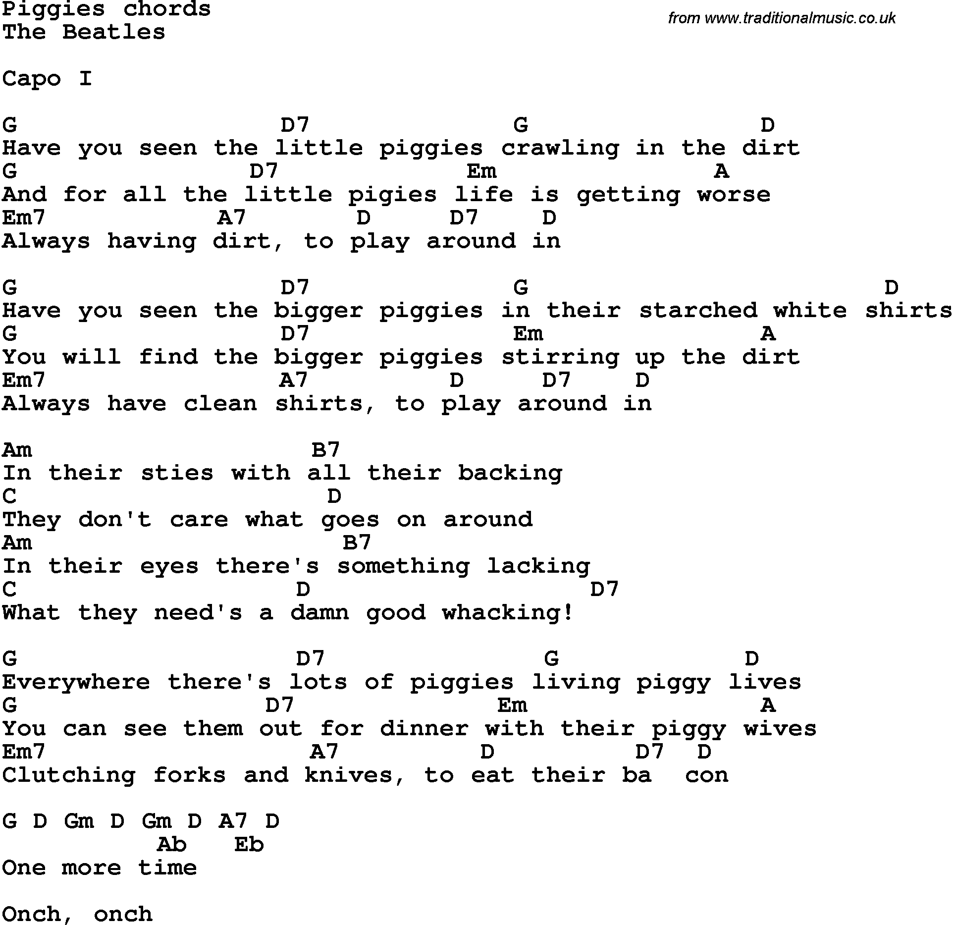 Song Lyrics With Guitar Chords For Piggies The Beatles Music