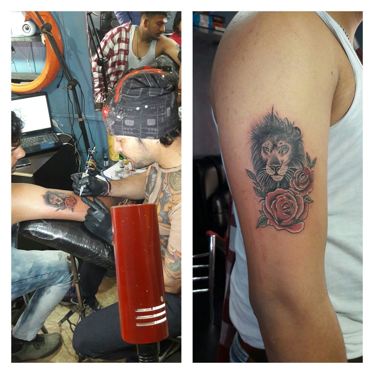 eee7ef63c lion an red rose tattoo...!!!!! smoll size tattoos...!!!! hope you like  all.... contact for tattooing 7800000074 pardeep kumar!