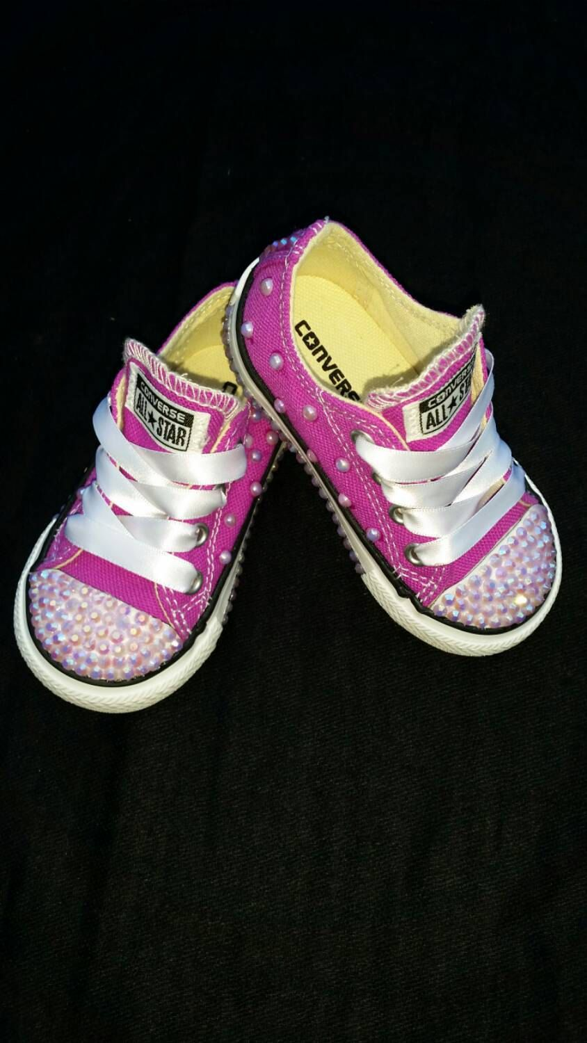 9fdc880fa587 Size 5C- Studded Low Top All Star Converse- Purple- Plum-Pearls- Crystal  Studded- Kids- Toddler- Girls- Ready to ship by DivineKidz on Etsy