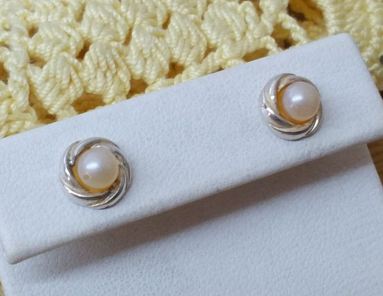 Vintage Ohrstecker - Alte 925 Silber Ohrstecker Perle Vintage rar SO251 - ein Designerstück von Atelier-Regina bei DaWanda