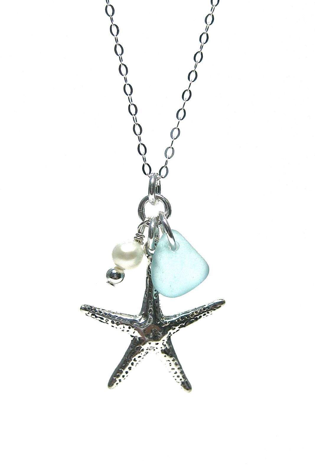 Starfish and Pearl Chain Necklace