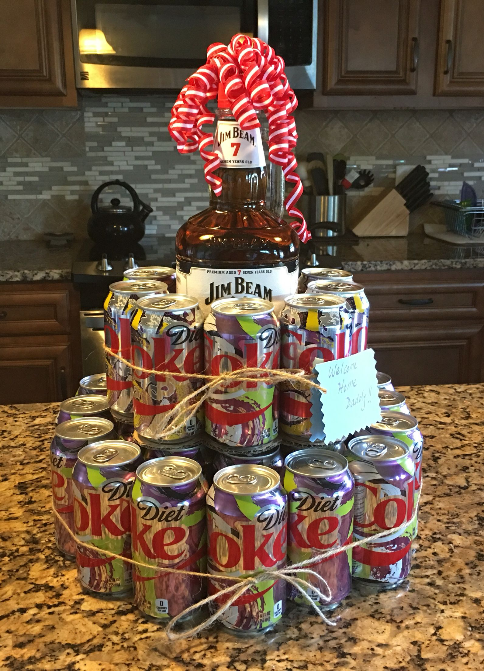 Jim Beam cake I made for a welcome home gift. | Liquor cake crafts ...