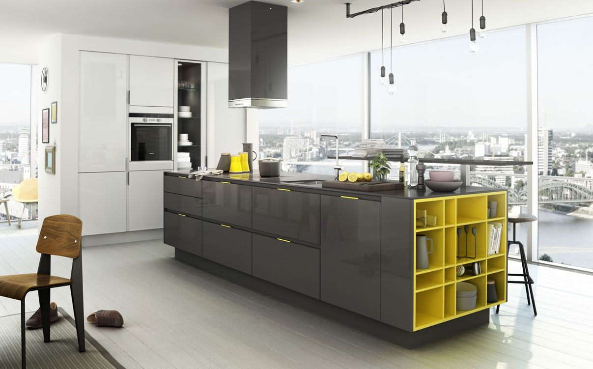 Kreieren Sie Eine Frische Fröhliche Atmosphäre In Ihrer Küche   Diese  SieMatic Mit Maisgelben Griffschalen Und Regalen Macht Einfach Gute Laune.