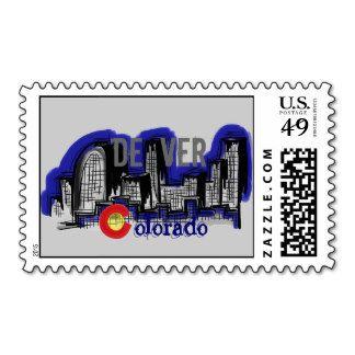 Denver Colorado Skyline Stamp