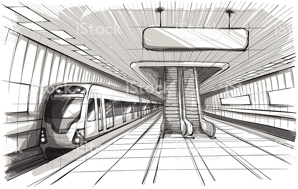 Grayscale Illustration Of An Underground Train Station Royalty Free Stock Vector Art Train Drawing Train Art Train Sketch