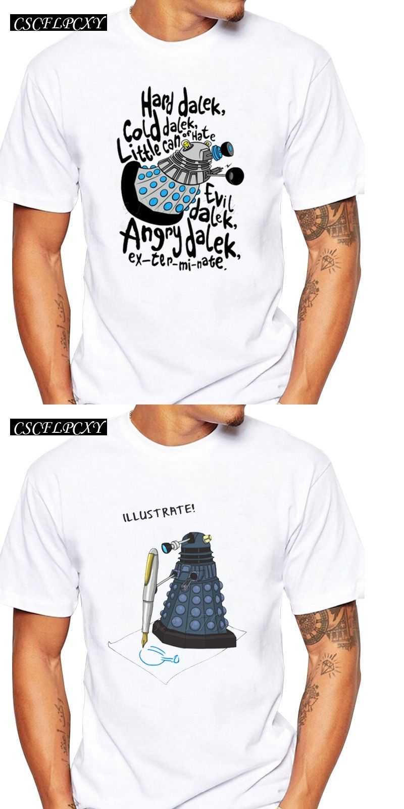 New Fashion Men Letter Printed Customized T Shirt Doctor Who Cartoon