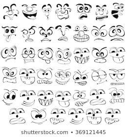 Cartoon Face Emotion Set Various Facial Stock Vect