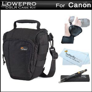 Lowepro Toploader Zoom 50 AW Digital SLR Holster Camera Bag / Case (Black) + Wrist / Hand Grip + Lens Pen Cleaning kit + MicroFiber Cloth For Canon EOS-1Ds Mark III, EOS-1D Mark IV, EOS-1D Mark III, EOS 5D Mark II, EOS 7D, EOS 60D, EOS 50D DSLR Camera (Electronics)  http://www.43coupons.com/amapin.php?p=B006GGGUBA