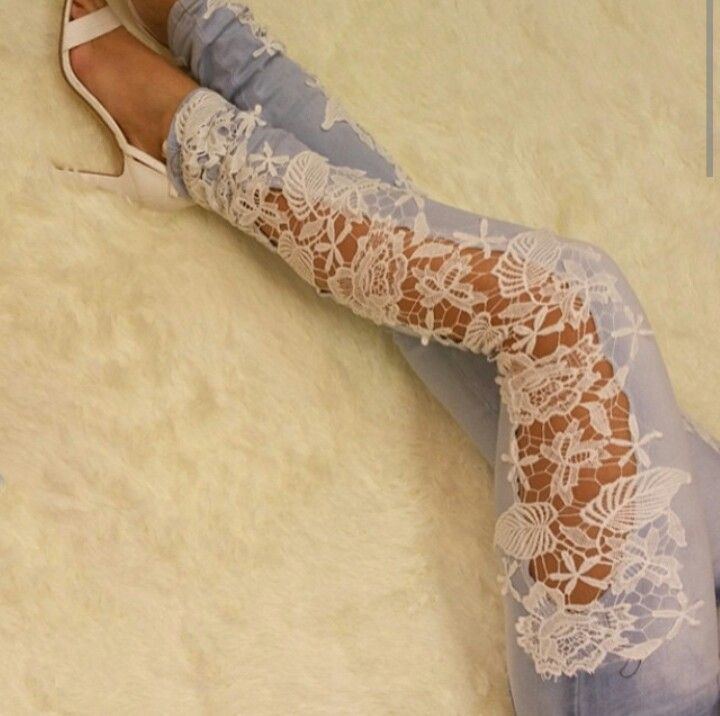 Bleach jean with lace detail. . love it