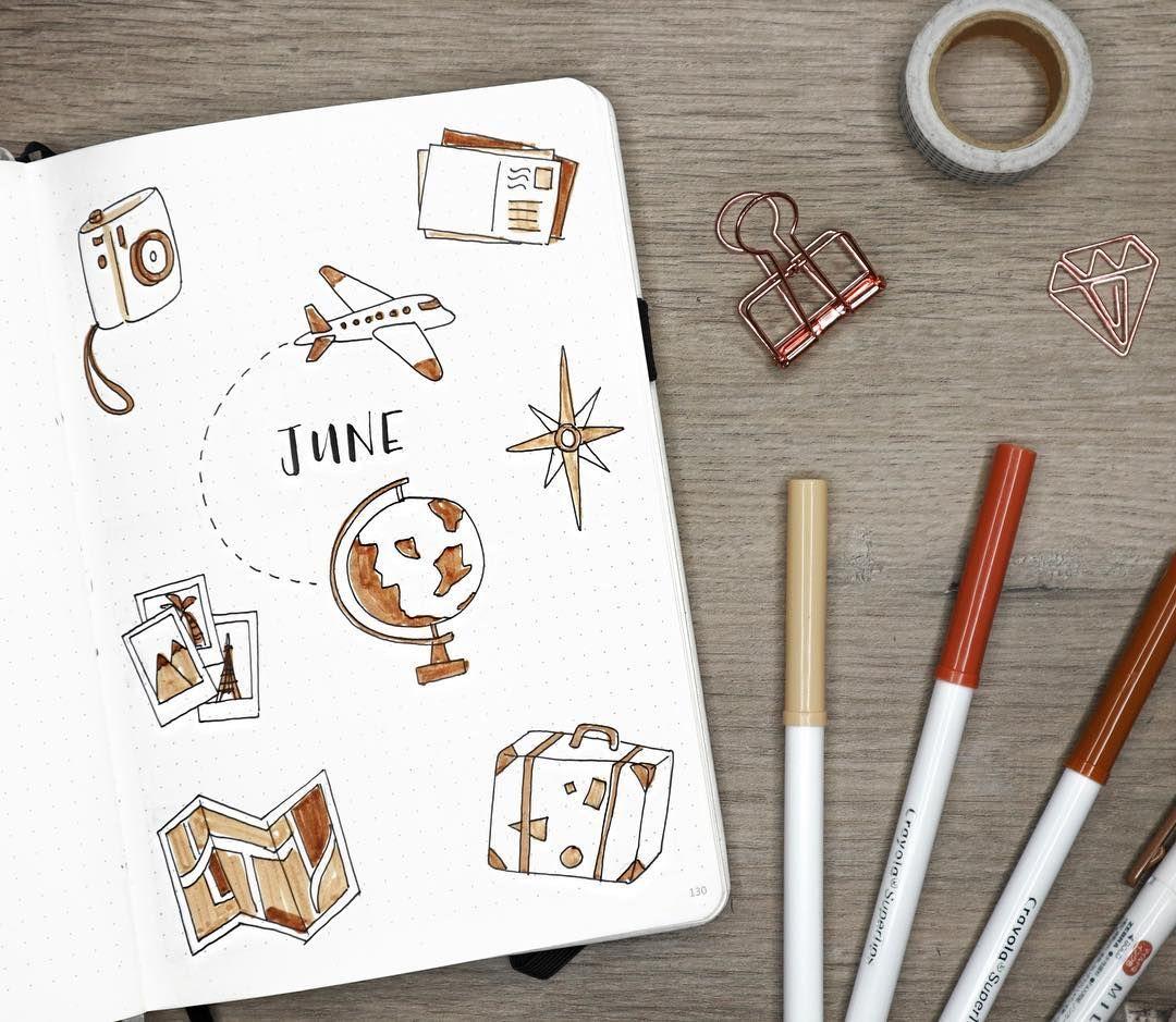 My Travel-themed June Bullet Journal Setup! Watch The Full