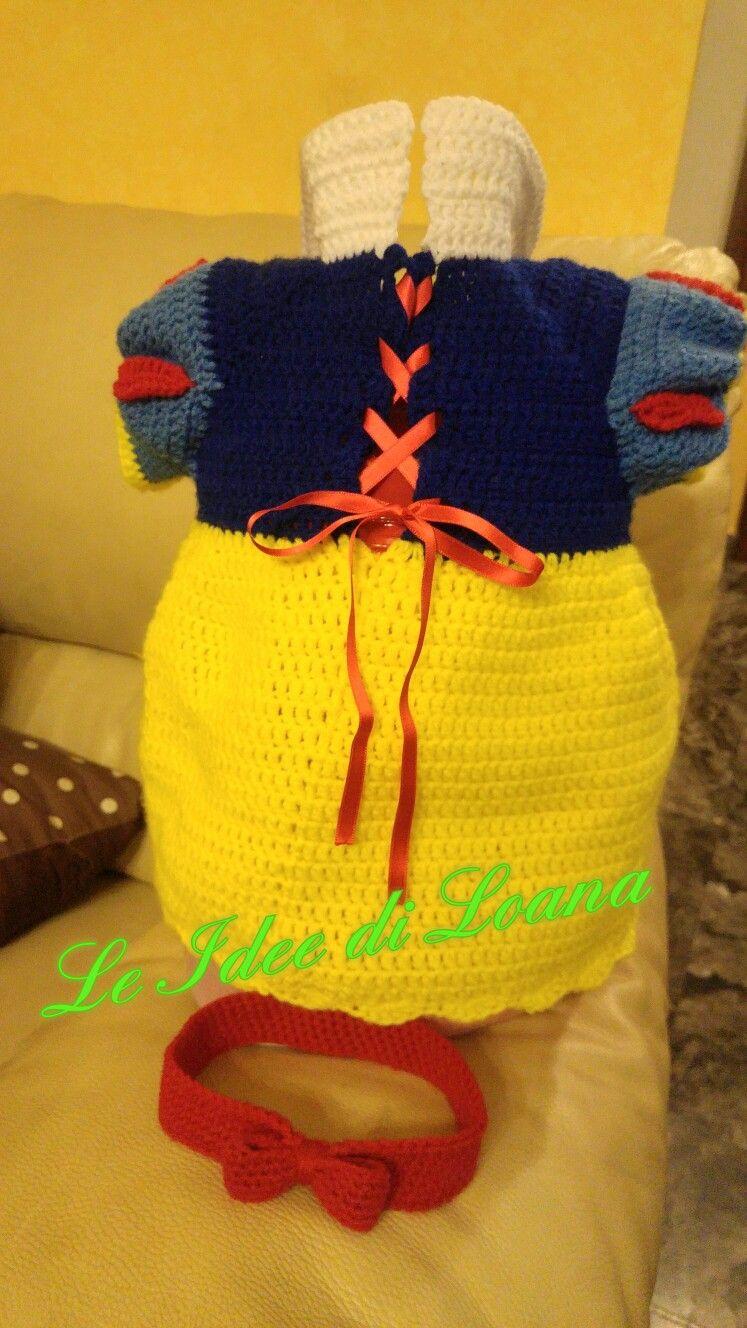 Costume Carnevale Bambina Biancaneve In Lana A Uncinetto Costume