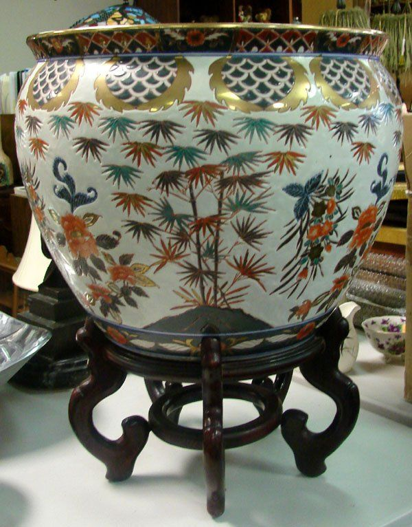 133 Chinese Fish Bowl Planter 15 Rosewood Stand On En 2019