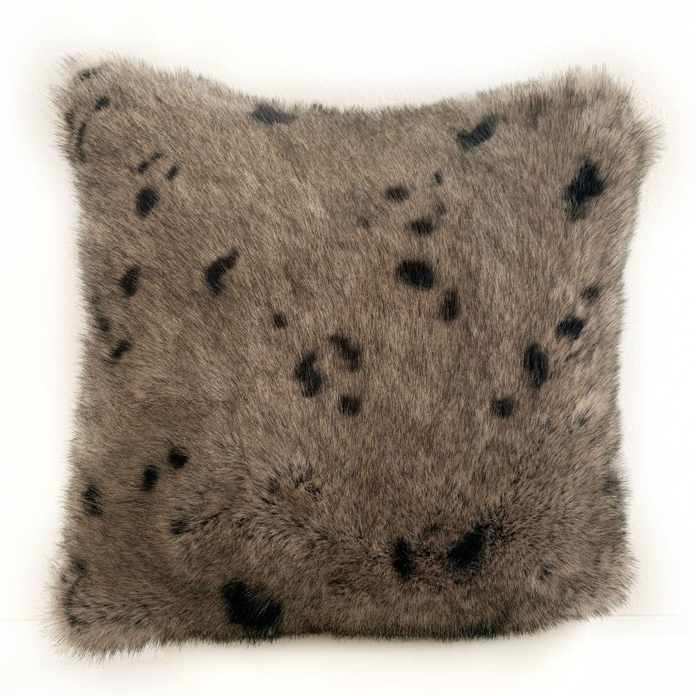 "Plutus Gray Gunmetal Two Tone Animal Faux Fur Luxury Throw Pillow (Double sided 20"" x 36"" King), Plutus Brands"