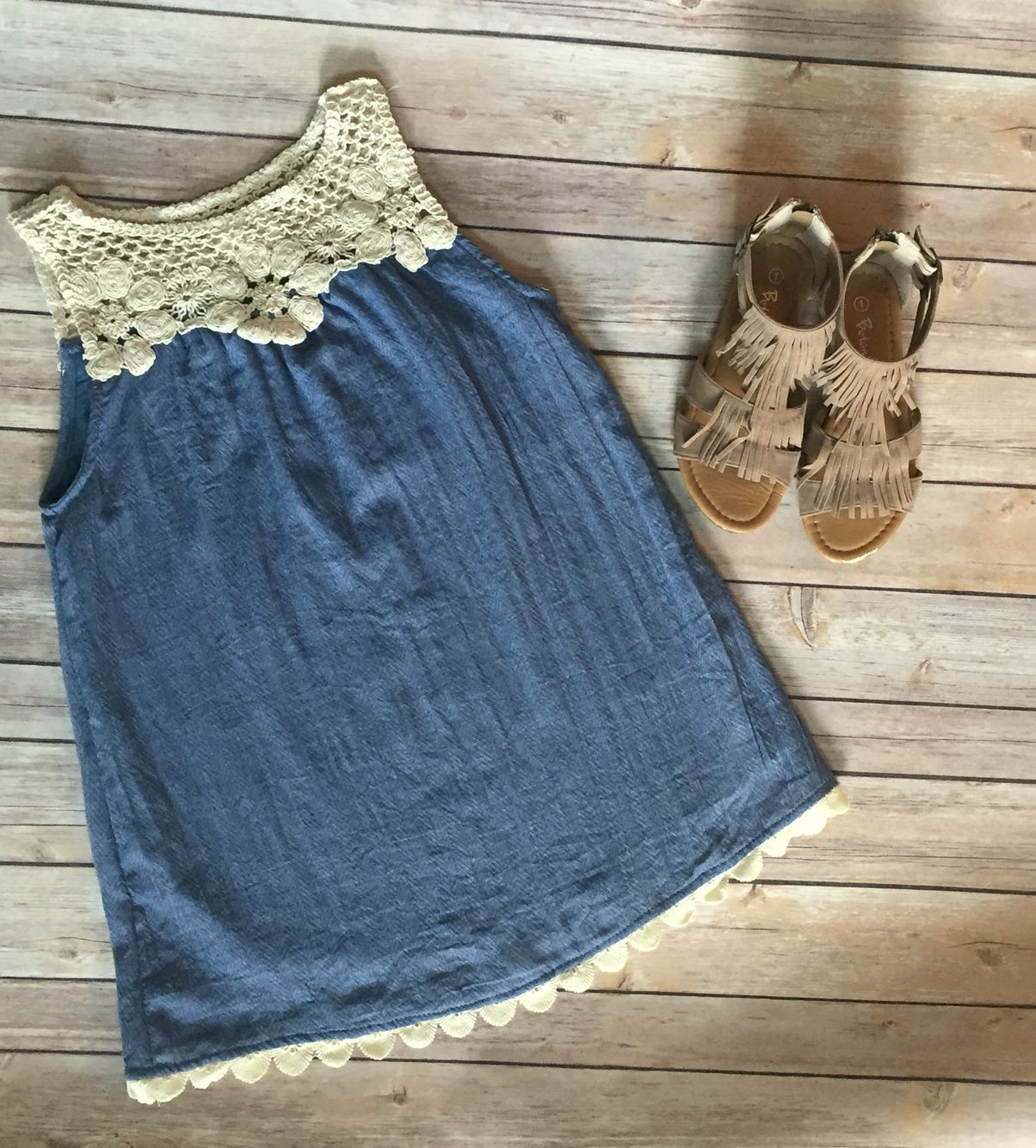 Girls denim dress and fringe sandals, such an easy & stylish outfit. You can get it today @ www.kidsclothbox.com!