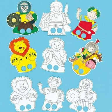 Colour in Roman Finger Puppets. Could be good for a Paul series - helps to link the Bible with the history they may learn in school. Maybe keep the lions for Daniel.