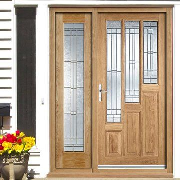 Coventry Exterior Oak Door and Frame Set with One Obscure Side