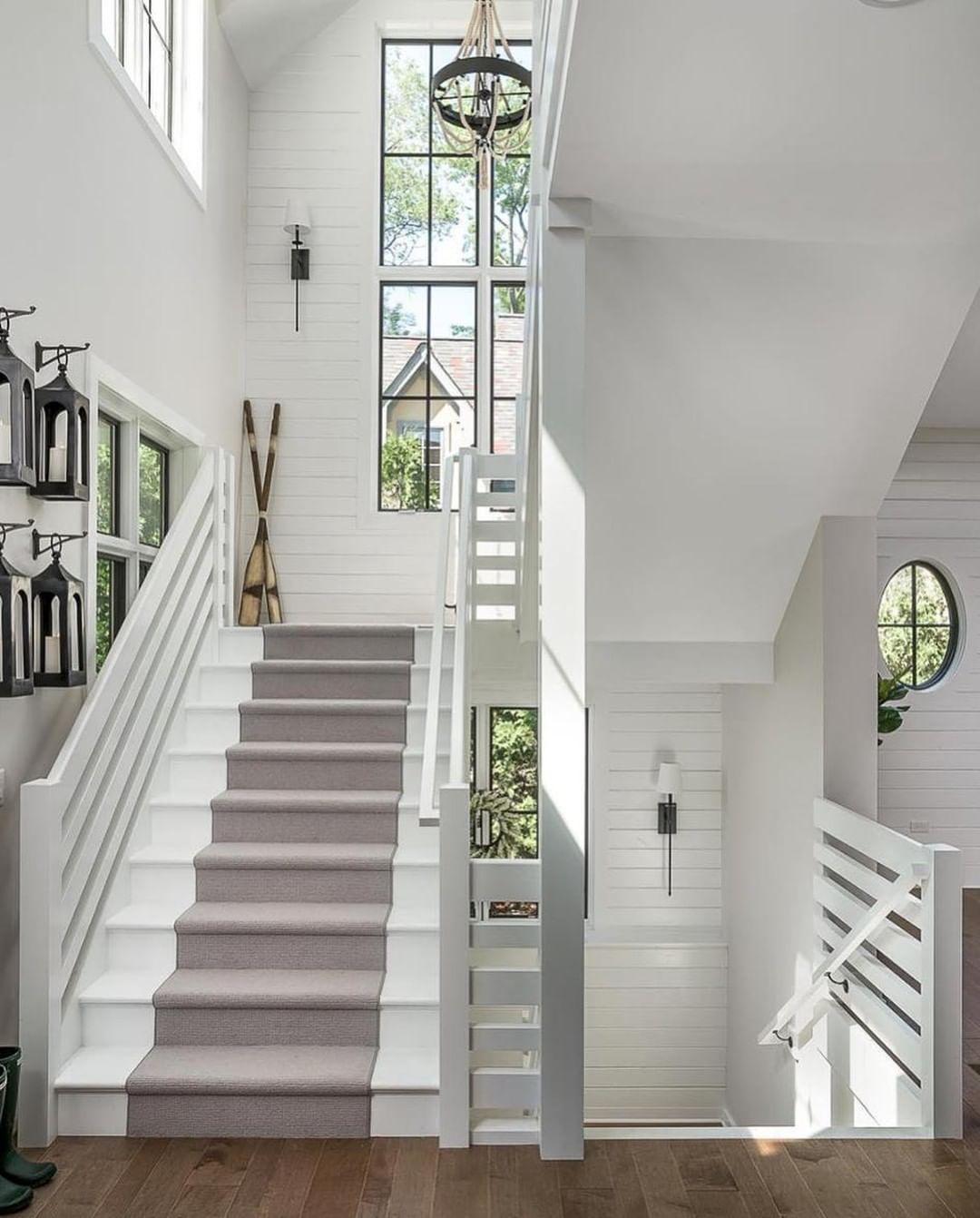 "80 Modern Farmhouse Staircase Decor Ideas 64: @scoutandnimble On Instagram: ""This All White Staircase By"