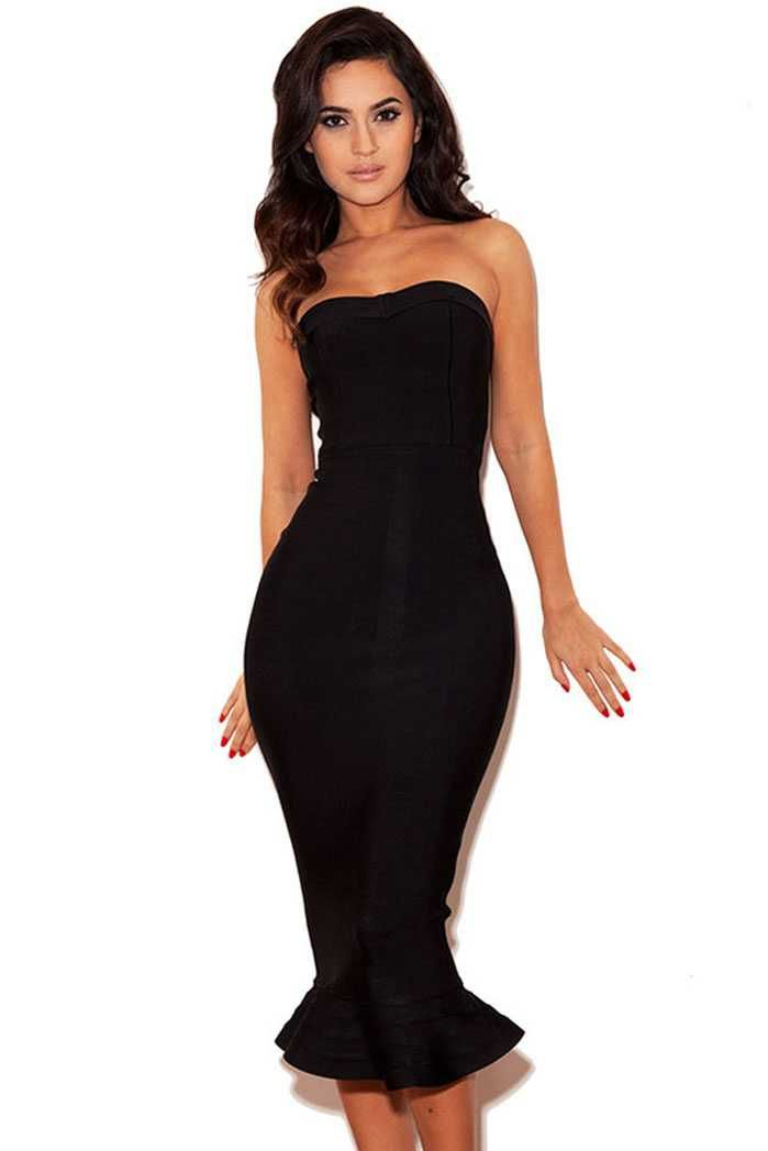 e9a3b3529caa Herve Leger Ruffled Mermaid Style Black Strapless Bandage Dresses ...