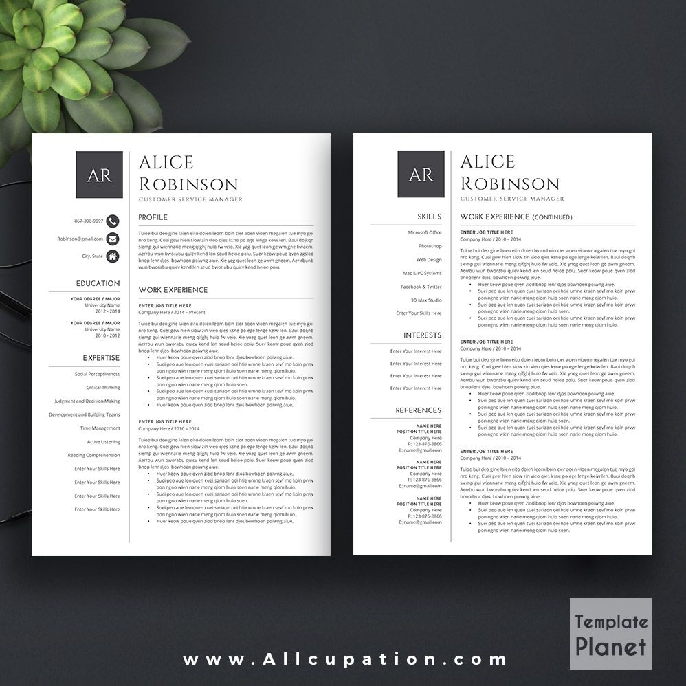 Modern Resume Template Cv Template Cover Letter References