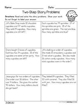 2nd grade 1 step and 2 step word problems no prep practice worksheets 2nd grade math tpt. Black Bedroom Furniture Sets. Home Design Ideas