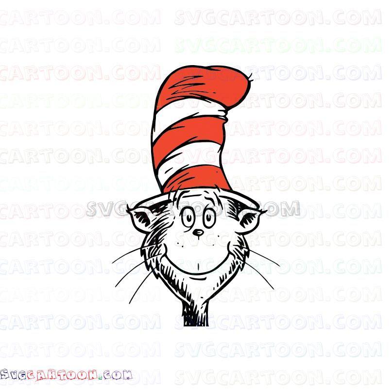Face Dr Seuss The Cat In The Hat Svg Dxf Eps Pdf Png Poster Prints Seuss Cartoon Faces